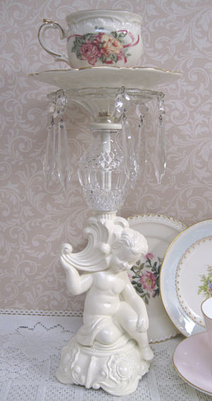 Cottage White Cherub Candle Stick 2-