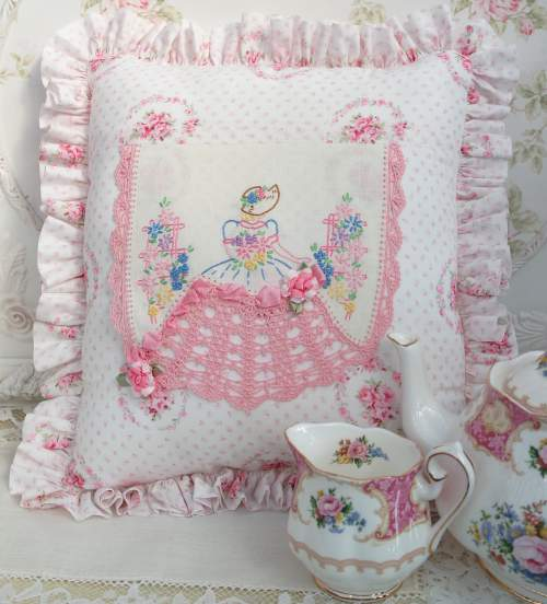 Southern Belle Embroidery Pillow-southern belle pillow, pink crochet pillow, pink embroidered pillow,