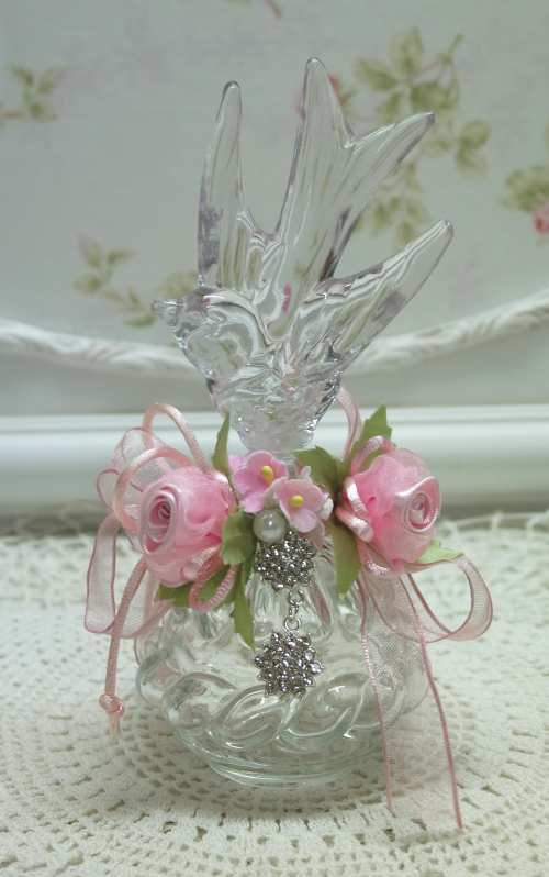 Flying Bird Bottle-bird bottle, pink rose bottle, glass bird bottle