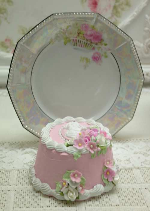 Pink Round Cameo Cake III-pink faux cake, cameo pink cake, pink faux cameo cake