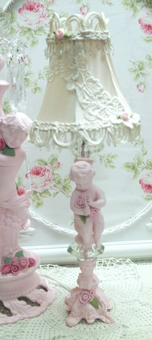Cherub Lamp With Shade-pink cherub, pink cherub lamp, pink cherub with ecru shade