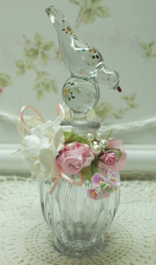 Bird Bottle II-glass bird bottle, perched bird bottle, pink rose bottle