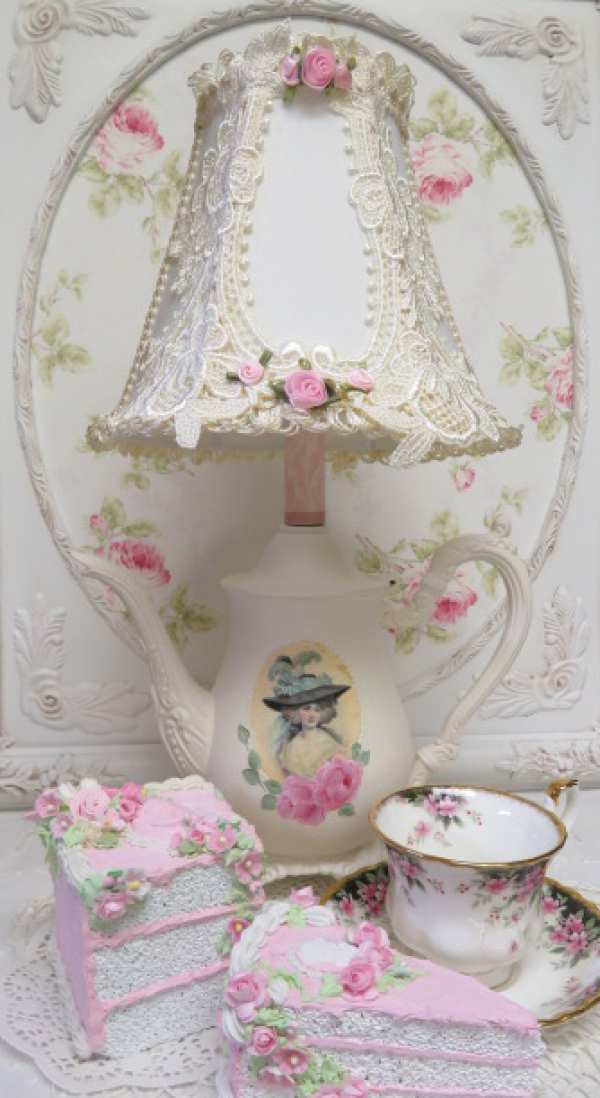 Lady Lace Tea Pot Lamp-teapot lamp, lace shade, lady teapot lamp, rose teapot lamp