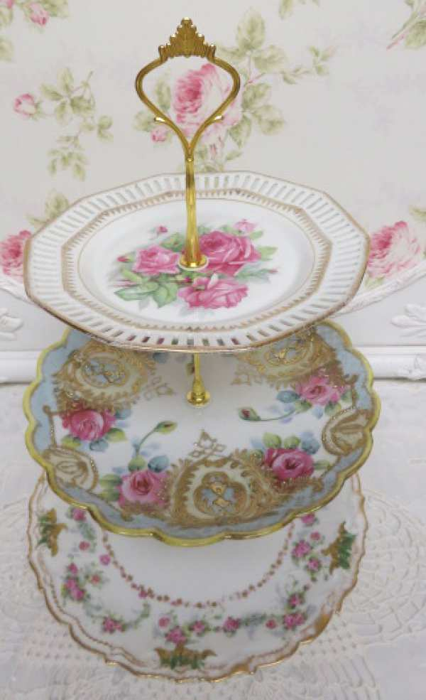 Pink Rose Gold Three Tier-three tier dish, rose and gold dish tier,