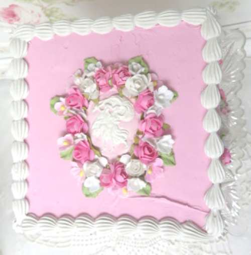 Faux Square Pink Cameo Cake-faux cake, pink faux cake, pink cameo cake, glass stem dish