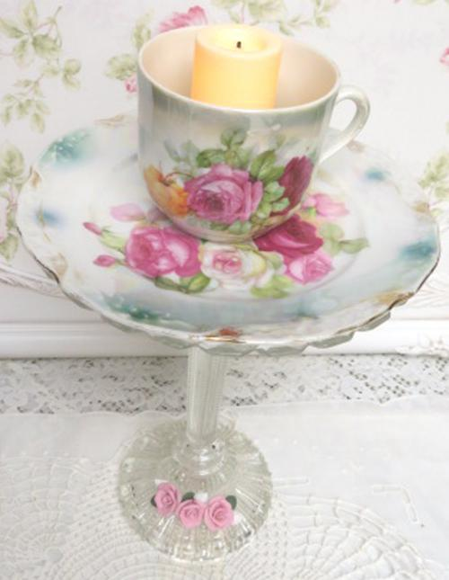 Trio Rose Candle Stand-rose candle cup, rose cup, rose plate, glass candle stem