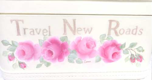 Crown Train Case-painted train case, pink rose train case, rose train case