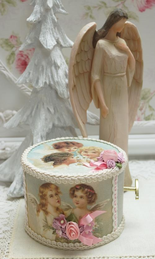 Trio Angels Music Box-angel music box, silent night music box, angles music box