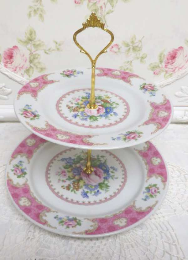 Pink Rose Two Tier-pink rose two tier server, pink plate two tier