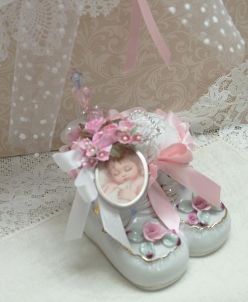 Baby Shoes Pin Cushion-Baby Shoes, Pink baby shoes,  porcelain shoes pin cushion, baby shoe pin cushion.