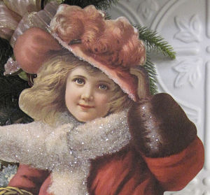 Victorian Girl in Red Coat-Victorian girl, red coat girl, table display piece