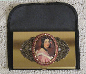 Victorian Pink Lady Calling Card Case-Victorian calling card case, Credit card holder, Victorian business card holder