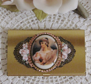 Pink Victorian Lady Name Card Holder-Business card holder, name card holder, credit card holder, cameo card holder