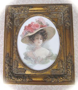 Victorian Lady 2-Hat full of roses Victorian Lady in green Victorian in hat