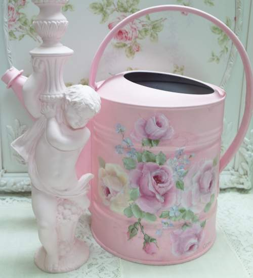 Pink Watering Can-pink watering can, galvanized watering can, rose painted watering can, hand painted roses