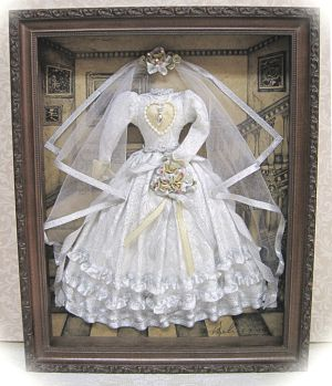 Wedding Gown Shadow Box  Lovely wedding dress in silver brocade fabric and gold trim.  Veil is silver illusion with silver ribbon trim