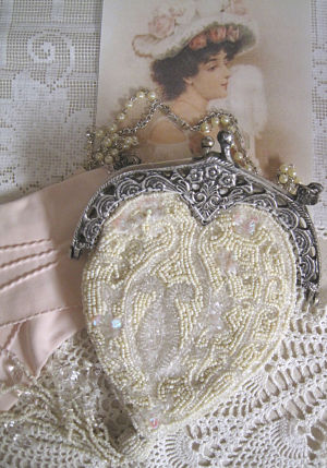 White Beaded Victorian Purse-Beaded White Victorian Purse, Victorian Purse, Beaded Purse