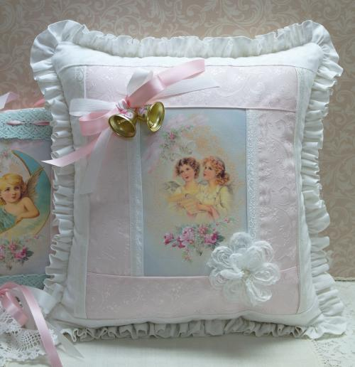 05 Pink and White Angels Pillow-angel pillow, pink pillow, white pillow, Christmas pillow